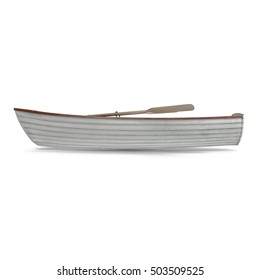 Wooden row boat on white. Top view. 3D illustration