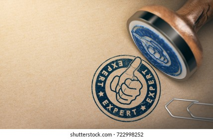 Wooden Rubber Stamp over brown cardboard background with the text expert printed in blue color. Concept of professional advice and industrial expertise. 3D illustration