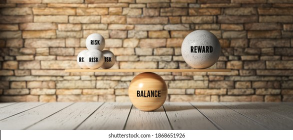 wooden scale balancing one big ball and four small ones with message RISK, REWARD and BALANCE in front of a brick wall - 3d illustration