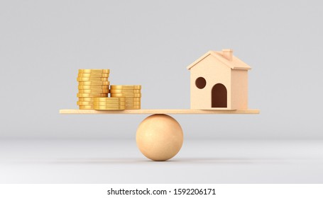 Wooden scales. House and gold coins on a white background. 3d render illustration.