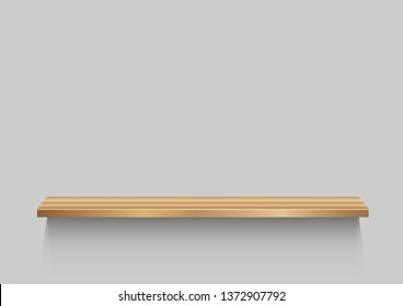 Wooden shelf on gray background. Portfolio wood construction with shadow