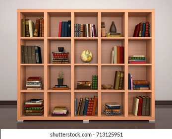 wooden shelves with books and objects. 3d illustration