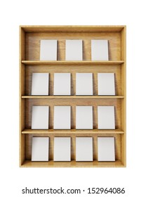 wooden shelves with empty books isolated on white background