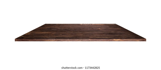 Wooden shelves, table and wooden planks background