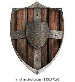 wooden shield isolated on white