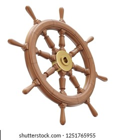 Wooden ship steering wheel isolated on white background - 3D illustration