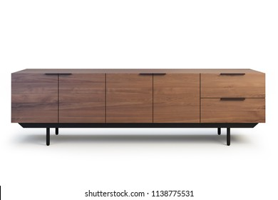 Wooden sideboard with retractable shelves. Wooden chest of drawers with wooden doors on the legs. Open position. Sideboard on white background with shadows. 3d render