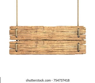 Wooden sign board hanging on rope isolated on white 3d rendering