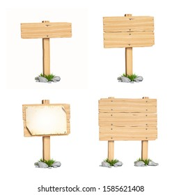 Wooden sign boards isolated on white background 3d rendering