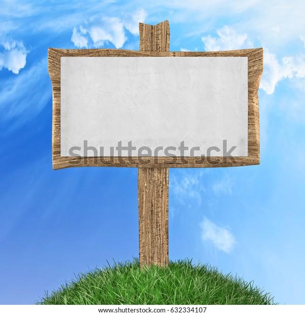 Wooden sign in grass park or garden 3d illustration
