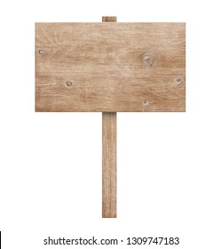 Wooden sign isolated on white background 3d illustration