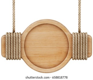 Wooden sign with rope. Isolated on white background. 3d rendering.