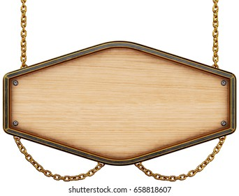 Wooden signboard with chain. Isolated on white background. 3d rendering.