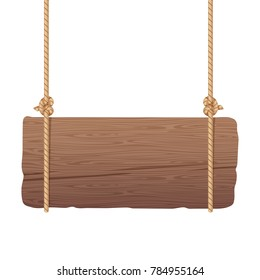 Wooden singboard hanging on ropes. Signboard wood with rope. illustration