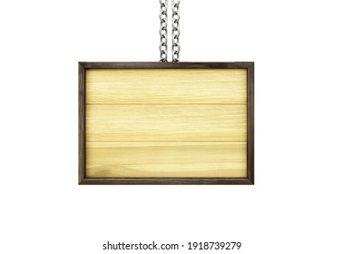Wooden sings hanging on a chain with white background image