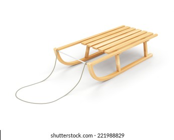 Wooden Sled isolated on white background