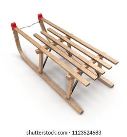 Wooden Sled on white. 3D illustration