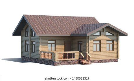 Wooden small cottage isolated on white background. Front view. 3D illustration.