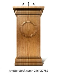 A wooden speech podium with three small microphones attached on an isolated white studio background