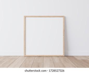 Wooden square frame Standing on parquet floor with white background, minimal frame mock up interior, 3D render, 3D illustration
