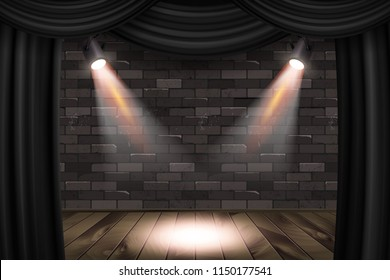 Wooden stage with black curtains and a black brick wall with spotlights, mock up, Raster copy