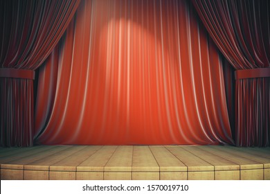 Wooden stage with red curtains. Art and presentation concept. 3d rendering