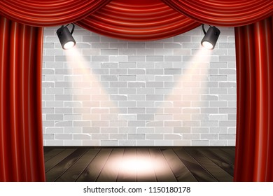 Wooden stage with red curtains and a white brick wall with spotlights, mock up, Raster copy