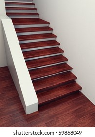 wooden staircase, high resolution 3d rendering