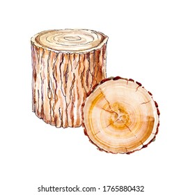 Wooden stumps painted in watercolor isolated on white backround