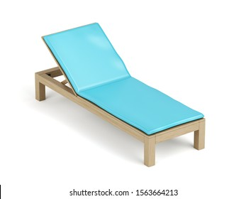 Wooden sun lounger with mattress on white background, 3D illustration