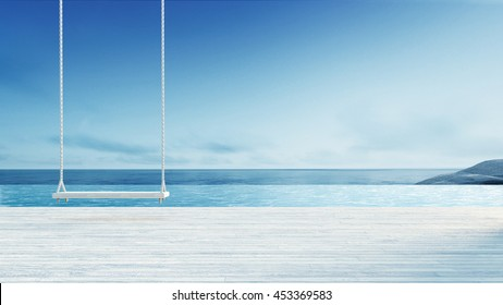 Wooden Swing & Hang Chair - Beach lounge Sea View from Balcony / 3D render image