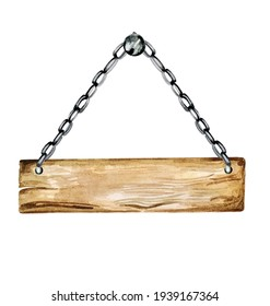 Wooden table hanging on the chain