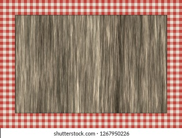 wooden table with red gingham border 3d illustration