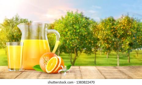Wooden table top with orange juice jug, glass of juice, orange fruits, orange garden trees with fruits in sun light. Oranges, orange juice, smoothie, product advertising key visual design elements. 3D