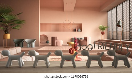 Wooden table top or shelf with line of stylized dogs, dog friendly concept, love for animals, animal dog proof home, contemporary living room, pastel color, sofa, cool interior design, 3d illustration