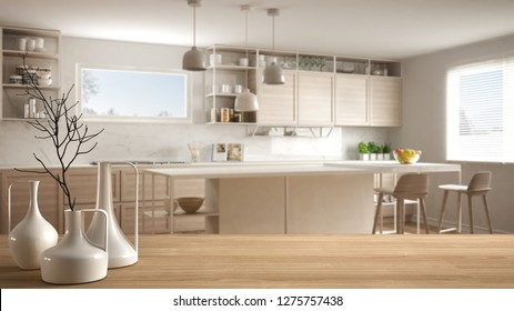 Wooden table top or shelf with minimalistic modern vases over blurred modern white kitchen with wooden details and parquet floor, minimalist architecture interior design, 3d illustration