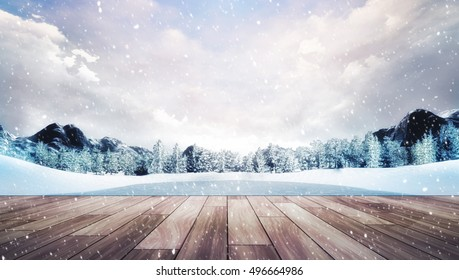 wooden terrace in winter mountain landscape at snowfall, natural park with forest and mountains covered under snow 3D illustration