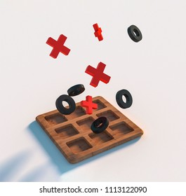 Wooden tic tac toe game on white blurred background. Red crosses and black noughts. High quality 3D Illustration
