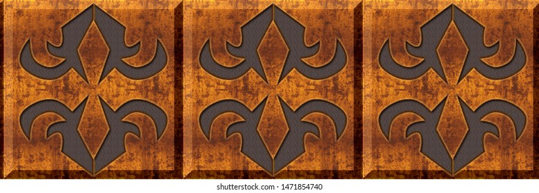 Wooden tiles. abstract home decorative art oil paint wall tiles pattern design background,