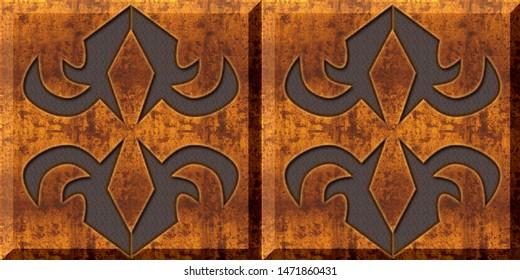 Wooden tiles. abstract home decorative art oil paint wall tiles pattern design background, Digital tiles design. Ceramic paint floor, ornament Collection Patchwork
