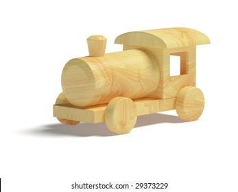 Wooden Toy Train on white background. It's 3D image. Toy is made from clean wood.
