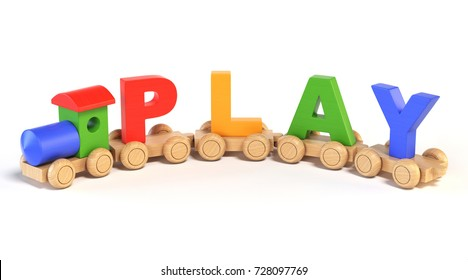 Wooden toy train with PLAY letters as railroad cars 3d rendering