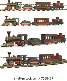 A wooden toy train with or without tracks.