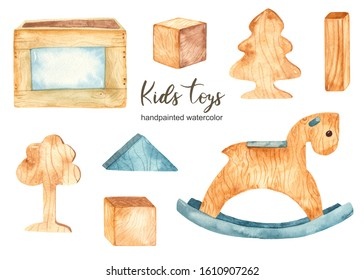 Children's wooden toys. Watercolor set with rocking horse and toy box