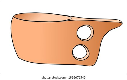 Wooden traditional Guksi (Kuksa) illustration