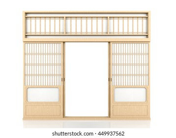 Wooden traditional Japanese Shoji door isolated on white background, 3D rendering