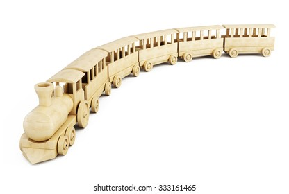 Wooden train on a white background. 3d render image.