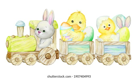 Wooden train, rabbit, chicken, duck, Easter eggs, Watercolor concept, on isolated background, cartoon style, for Easter holiday
