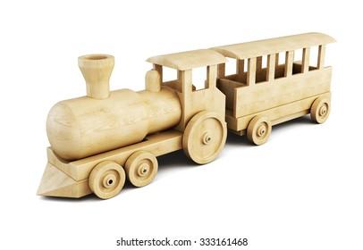 Wooden train set isolated on white background. 3d illustration.