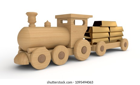 Wooden train toy car carrying the gold bullion. The idea of the gold reserve, the monetary Fund, embezzlement and investments. 3D illustration, isolated image on white background.